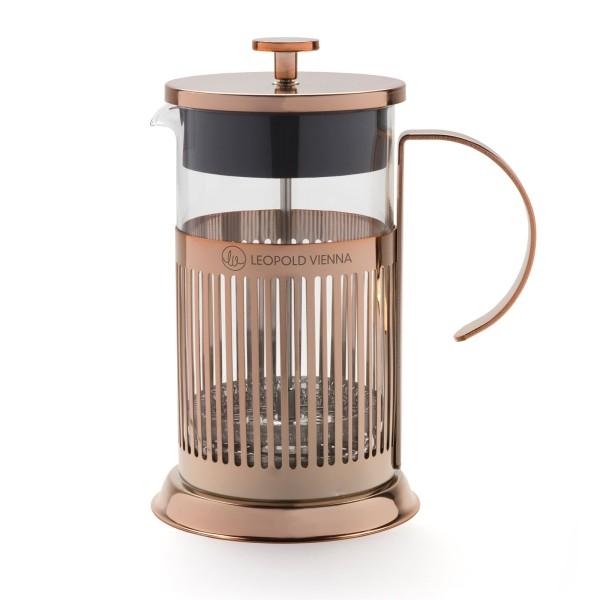 Leopold Vienna gläserner kupferfarbener Edelstahl Kaffeebereiter