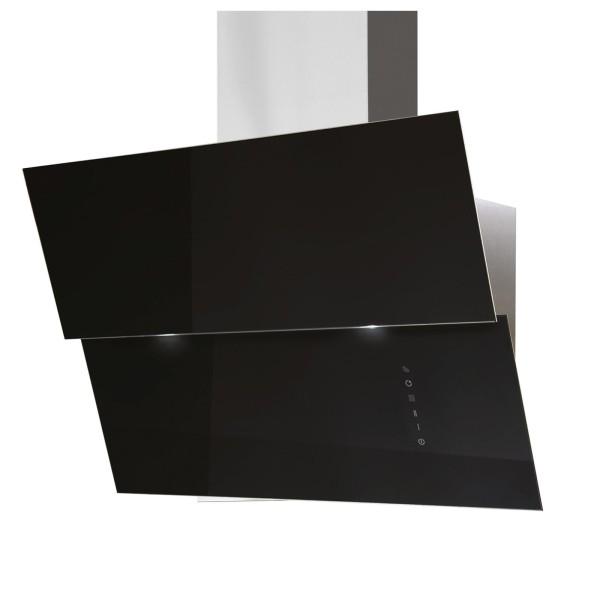 breite schwarze Edelstahl Glas Wandhaube 80 cm Abluft