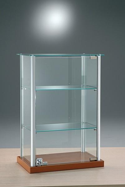 kleine Aufsatzvitrine Glas 40 cm Tischvitrine Alu abschließbar kirschbaum - Art.-Nr. ADT40-25-ob-kirsche