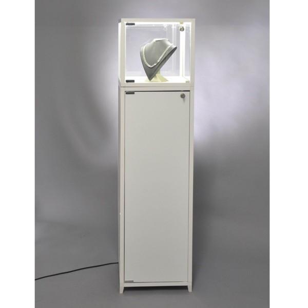 beleuchtete verschließbare Haubenvitrine Glas mit weißem Sockel mit Staufach - Art.-Nr. VW3232LEDW_VWS32H99W