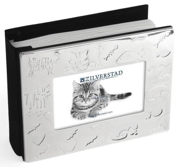 Zilverstad Fotoalbum Katze für 100 Fotos versilbert anlaufgeschützt L 10 cm H 15 cm - Art.-Nr. 8018231