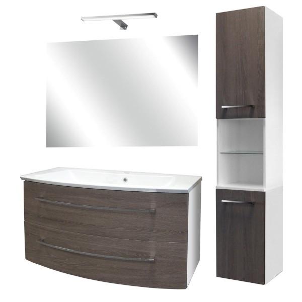 Fackelmann breites Badezimmer Möbel Set hängend 100 cm 5 tlg Hochschrank