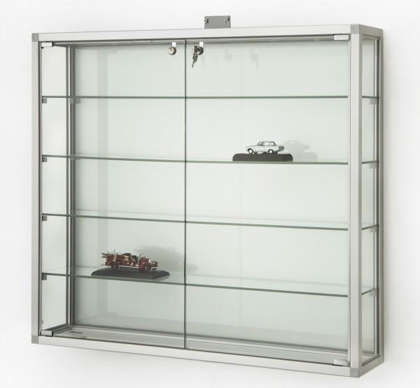 abschließbare Glas-Hängevitrine Alu & Beleuchtung 100 cm mit Glasrückwand / mit quadratischen Profilen
