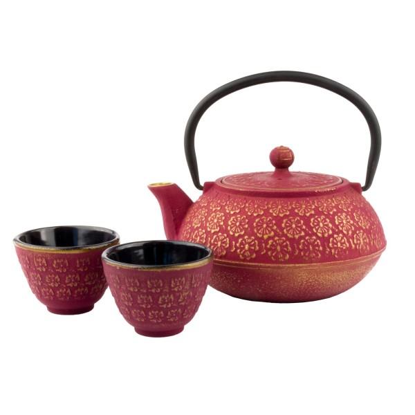 Bredemeijer rotes asiatisches gusseisernes Teekannen Set 0.6 Liter mit 2 Tassen