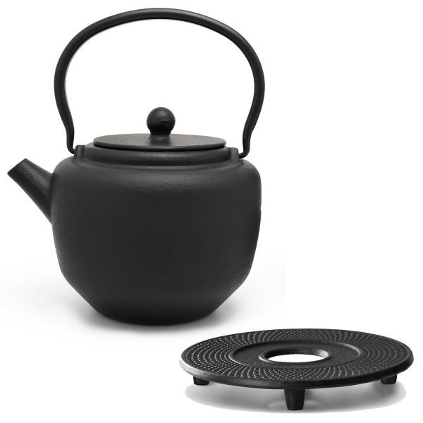 schwarzes asiatisches Guss Teekannen Set 1.3 Liter und Untersetzer aus Gusseisen