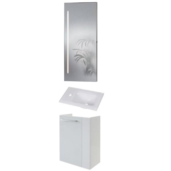 Fackelmann schmales Gäste WC Badmöbel Set hängend 45 cm 3 tlg Glasbecken