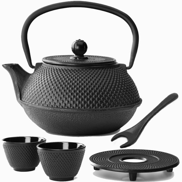 schwarzes asiatisches Teekannen Set Jang Gusseisen mit Untersetzer & Deckelheber 0,8 Liter
