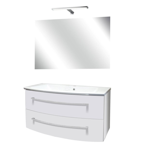 Fackelmann weißes Badezimmer Möbel Set hängend 100 cm 4 tlg