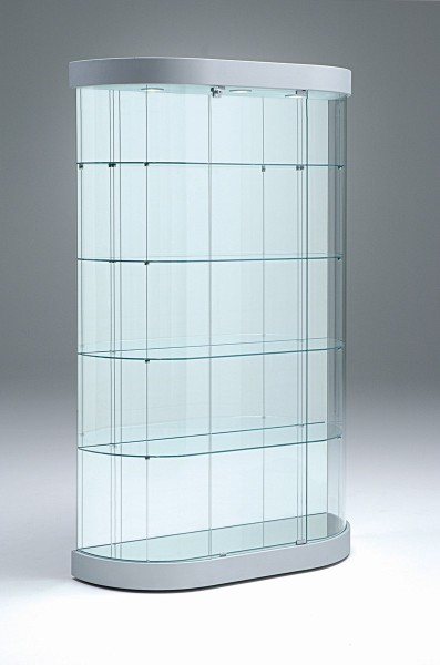 große ovale moderne Design Glasvitrine mit Schloss & Spiegelrückwand - Art.-Nr. PV112-38-mb-3LED-grau
