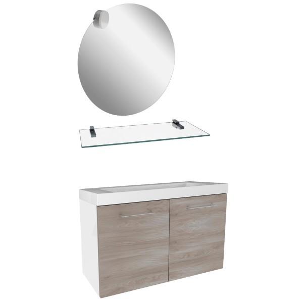 Fackelmann Badmöbel Set mit Gussbecken hängend braun weiß 80 cm