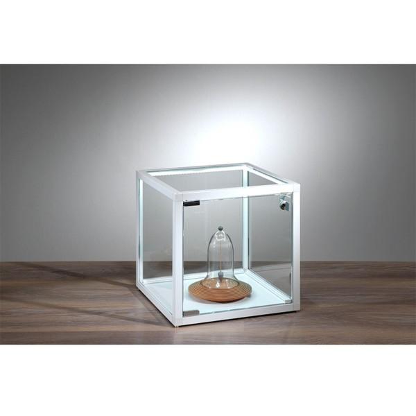 kleine quadratische Tisch Präsentationsvitrine beleuchtet mit Schloss 32 cm - Art.-Nr. VW-3232-LED-W-mb-we