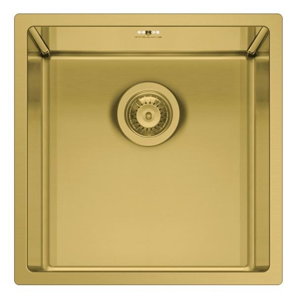 kleines Edelstahl Unterbaubecken 40 cm 1 Becken gold