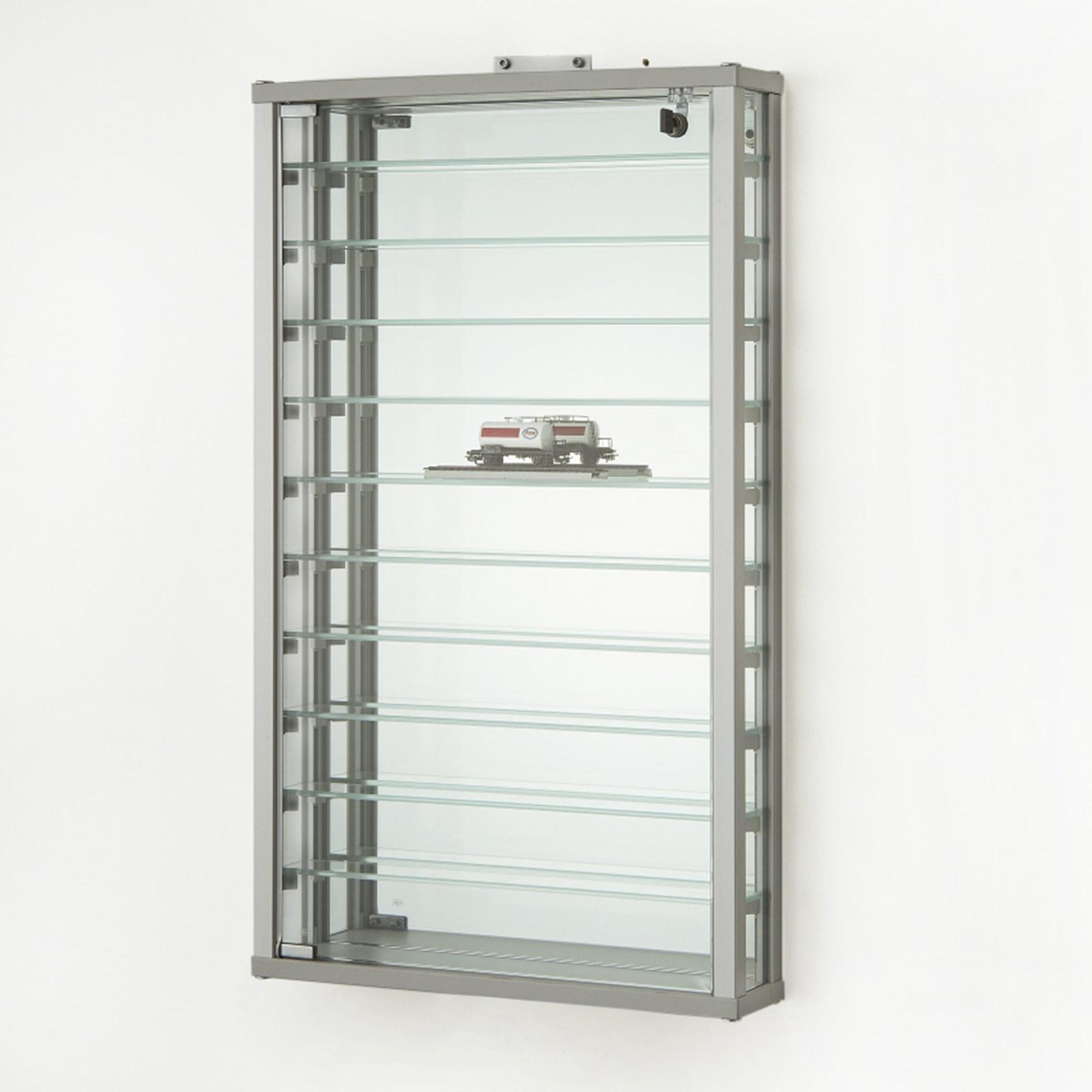 große Wandvitrine beleuchtet Alu Glas für Sammler abschließbar 80 cm Spiegel