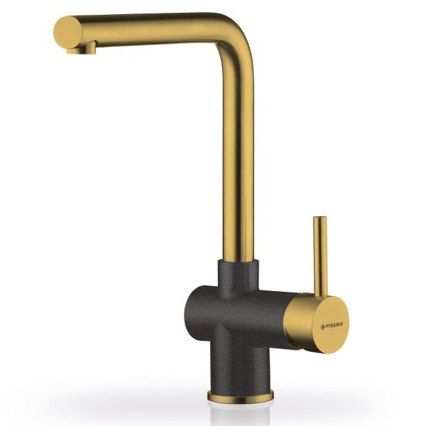 goldener Küchen Einhebelmischer Ausladung 219 mm