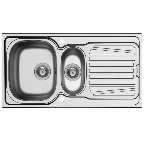 Pyramis Küchenspüle Sparta 1 1/2 Becken 1 D  Edelstal glatt