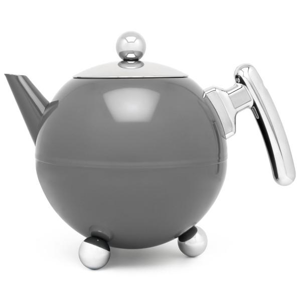 graue bauchige doppelwandige Edelstahl Teekanne 1.2 Liter - Art.-Nr.101003