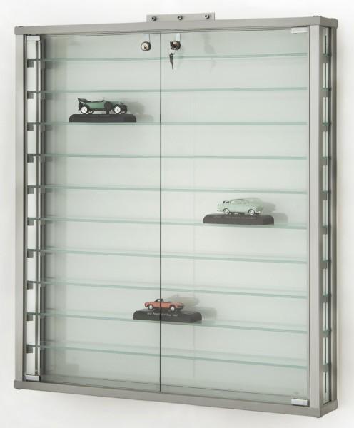 abschließbare Wand hängende Sammlervitrine aus Glas mit Schloss ohne Spiegelrückwand
