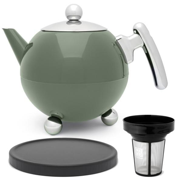 große grüne bauchige doppelwandige Edelstahl Teekanne 1.2 Liter & Filter & schwarzer Holzuntersetzer