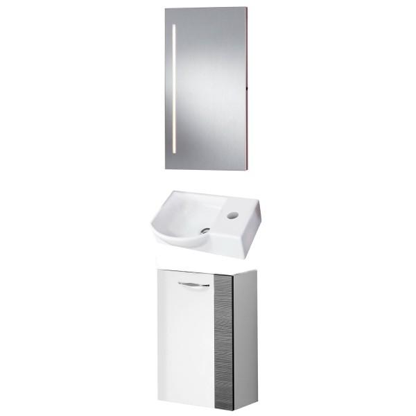 Fackelmann Badmöbel Set Sceno Gäste WC 3-tlg. 45 cm grau weiß Spiegelelement