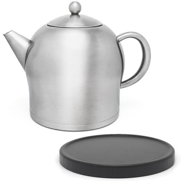 große matte doppelwandige Edelstahl Teekanne 2.0 Liter & schwarzer Untersetzer aus Holz
