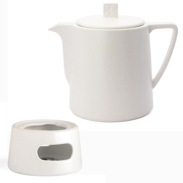 Teekannen Set Keramik Kanne 1,0 L weiß & 1 weißen Teewärmer