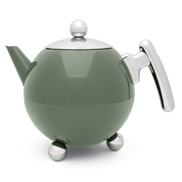 große grüne bauchige doppelwandige Edelstahl Teekanne 1.2 Liter