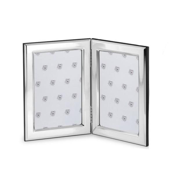 kleiner doppelter Fotorahmen 925 Silber mit Holzrücken 10x15 cm