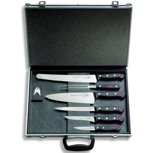 Dick kleiner abschließbarer bestückter Messerkoffer 6 teilig
