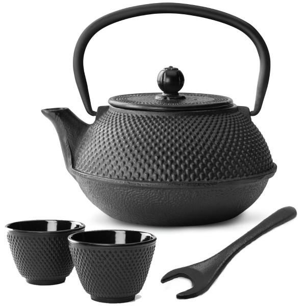 asiatisches schwarzes gusseisernes Teekannen Set Jang mit Teebecher & Deckelheber 0,8 Liter / 2 Stück