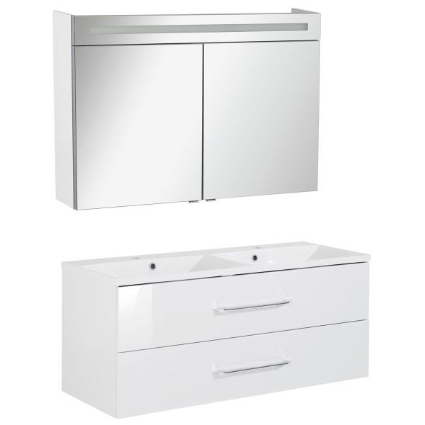 Fackelmann Badmöbel Set B.Clever 2-tlg. 120 cm weiß inkl. Doppel-Waschtisch