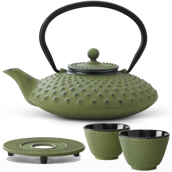 Teekanne Set Kanne Teekessel Kessel 0,8 Liter mit Untersetzer und 2 Becher grün