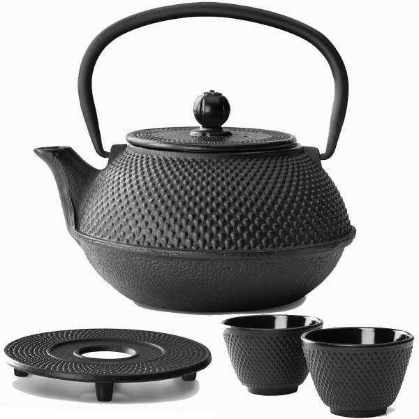 Teekanne Set Teekessel Kessel Gusseisen 0,8 Liter Untersetzer 2 Becher schwarz