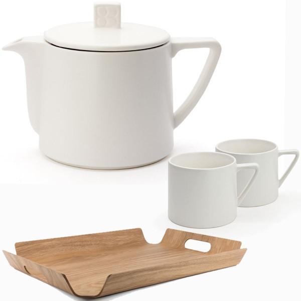 Bredemeijer Teekanne Lund Keramik 0,5 L & 2 Teebecher weiß & Tablett Bambusholz