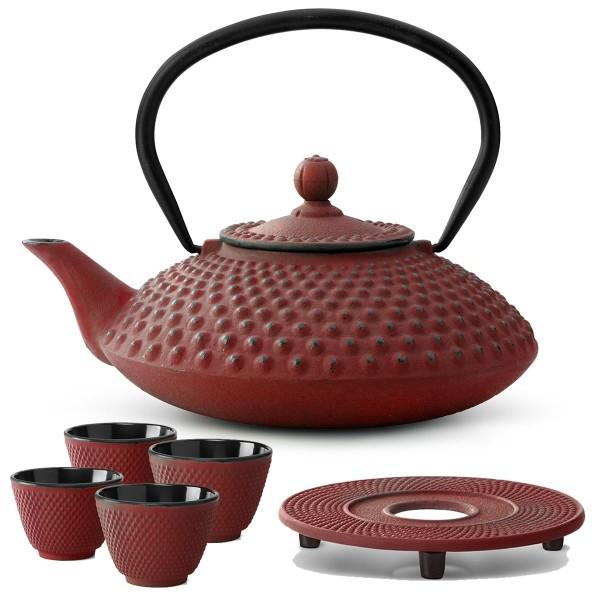 Teekanne Set Kessel Teekessel 1,25 Liter Kanne mit Untersetzer und 4 Becher rot