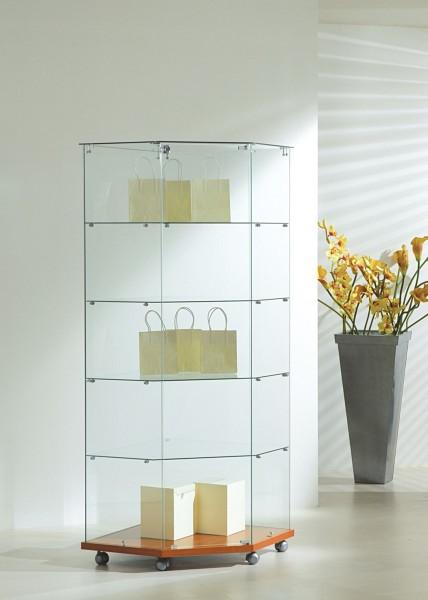 Eckvitrine Glas abschließbar Vitrine beleuchtet rollbar kirschbaum 68 cm  - Art.-Nr. SV6868-mb-r-kirsche