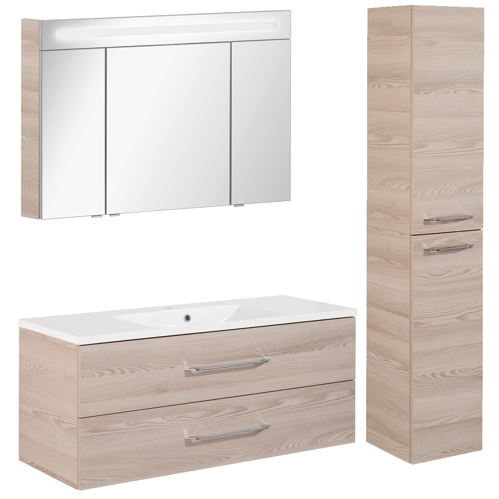 fackelmann badm bel set b clever 3 tlg 120 150 cm esche inkl hochschrank mm comsale. Black Bedroom Furniture Sets. Home Design Ideas