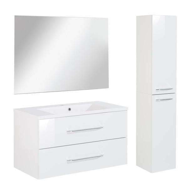 Fackelmann Badmöbel Set B.Clever 3-tlg. 120 cm weiß inkl. Spiegelelement