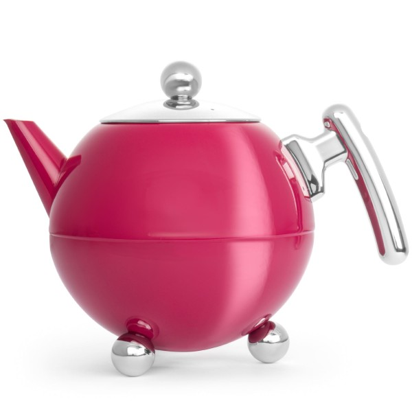 doppelwandige bauchige Edelstahl Teekanne 1.2 Liter mit Standfüße