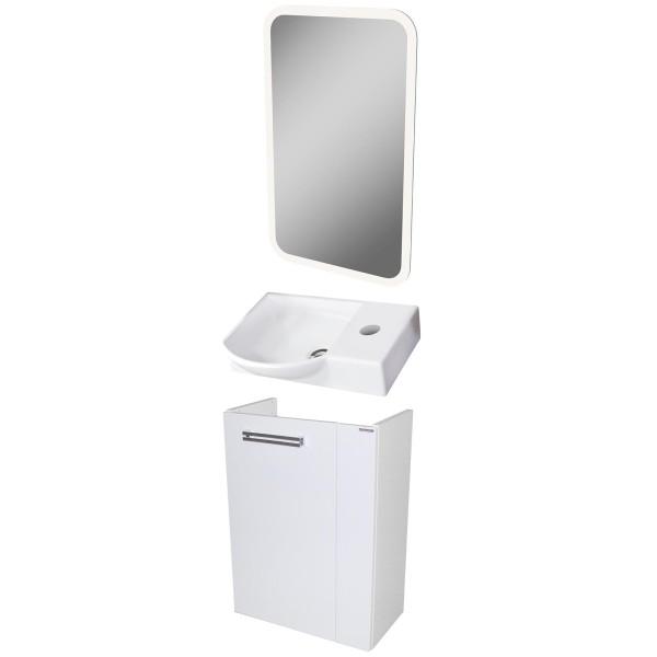 Fackelmann Badmöbel Set Como Gäste WC 3-tlg. 45 cm weiß LED Spiegelelement