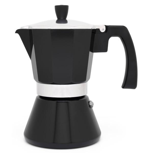 schwarzer Edelstahl Espressokocher Induktion für 6 Tassen - Art.-Nr.LV113008