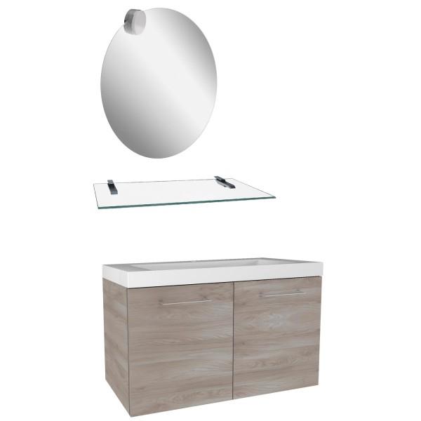 Fackelmann Badmöbel Set mit Gussmarmorbecken hängend braun 80 cm
