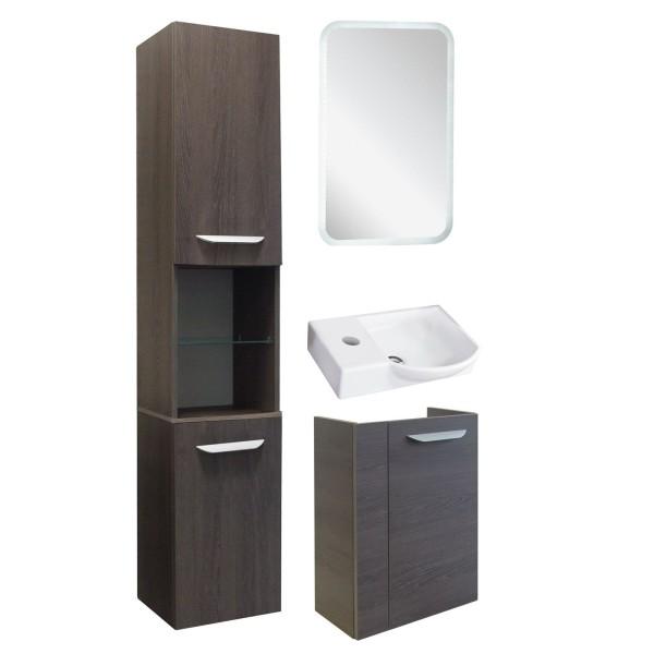Fackelmann kleines braunes Bad Gäste WC Set hängend 45 cm