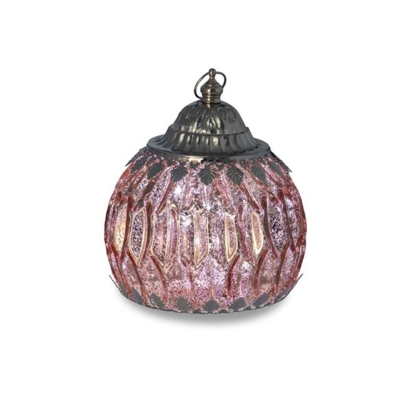 große rosa antike LED Glas Laterne Ø 12.5 cm Lichterkette innen - Art.-Nr. 5302ver