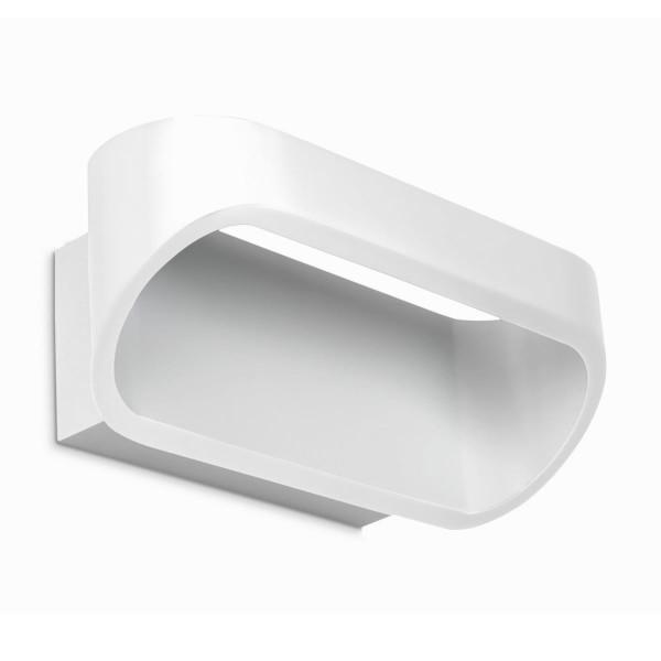 LED Wandleuchte Oval matt weiss