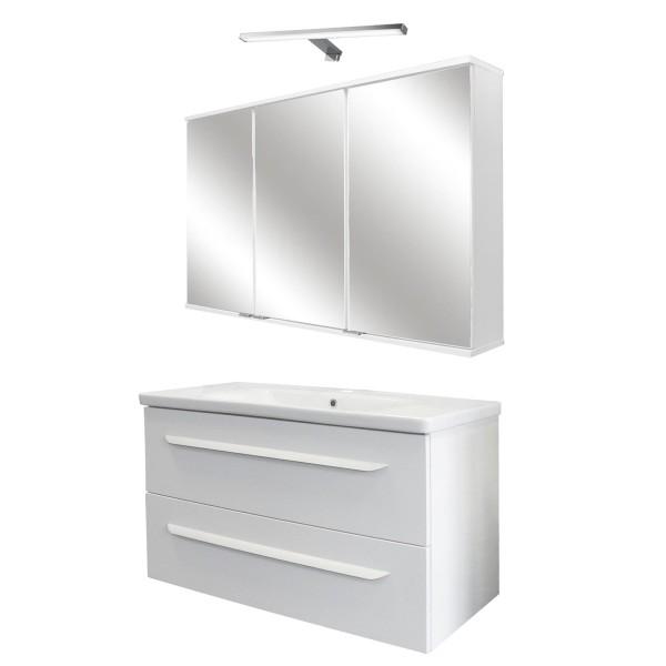 Fackelmann breites weißes Badmöbel Set hängend 100 cm 4 tlg