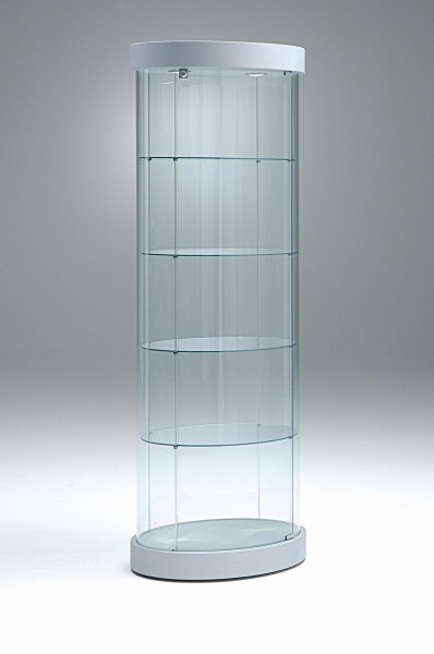 hohe ovale moderne Design Glasvitrine mit Schloss 65 x 44 cm rollbar - Art.-Nr. PV64-44-mb-2LED-grau
