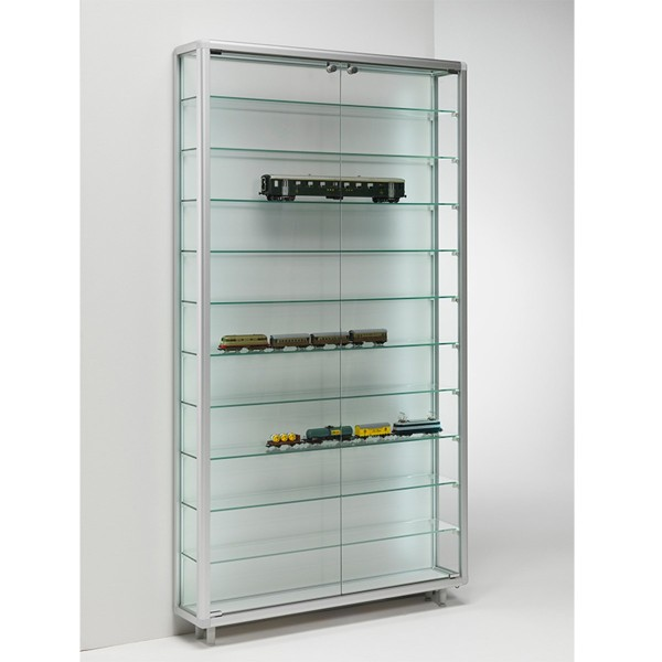 große Wandvitrine beleuchtet Alu Glas für Sammler abschließbar 80 cm breit - Art.-Nr. BV7920-mb-gr