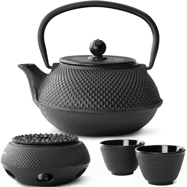 Teekanne Set Gusseisen Teekessel 0,8 Liter mit Stövchen und 2 Teebecher schwarz