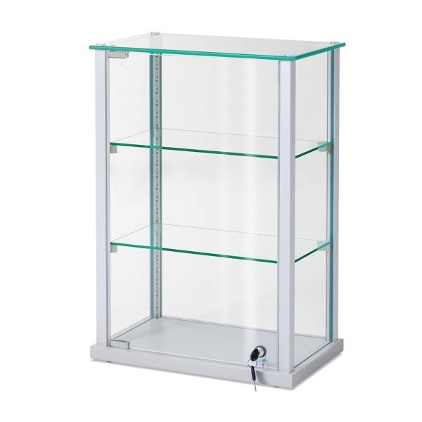 kleine Glas-Tischvitrine LED beleuchter & abschließbar - Art.-Nr. CT4326-mB-s