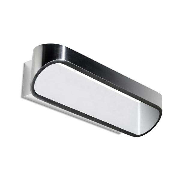 LED Wandleuchte Oval matt weiss Edelstahl poliert
